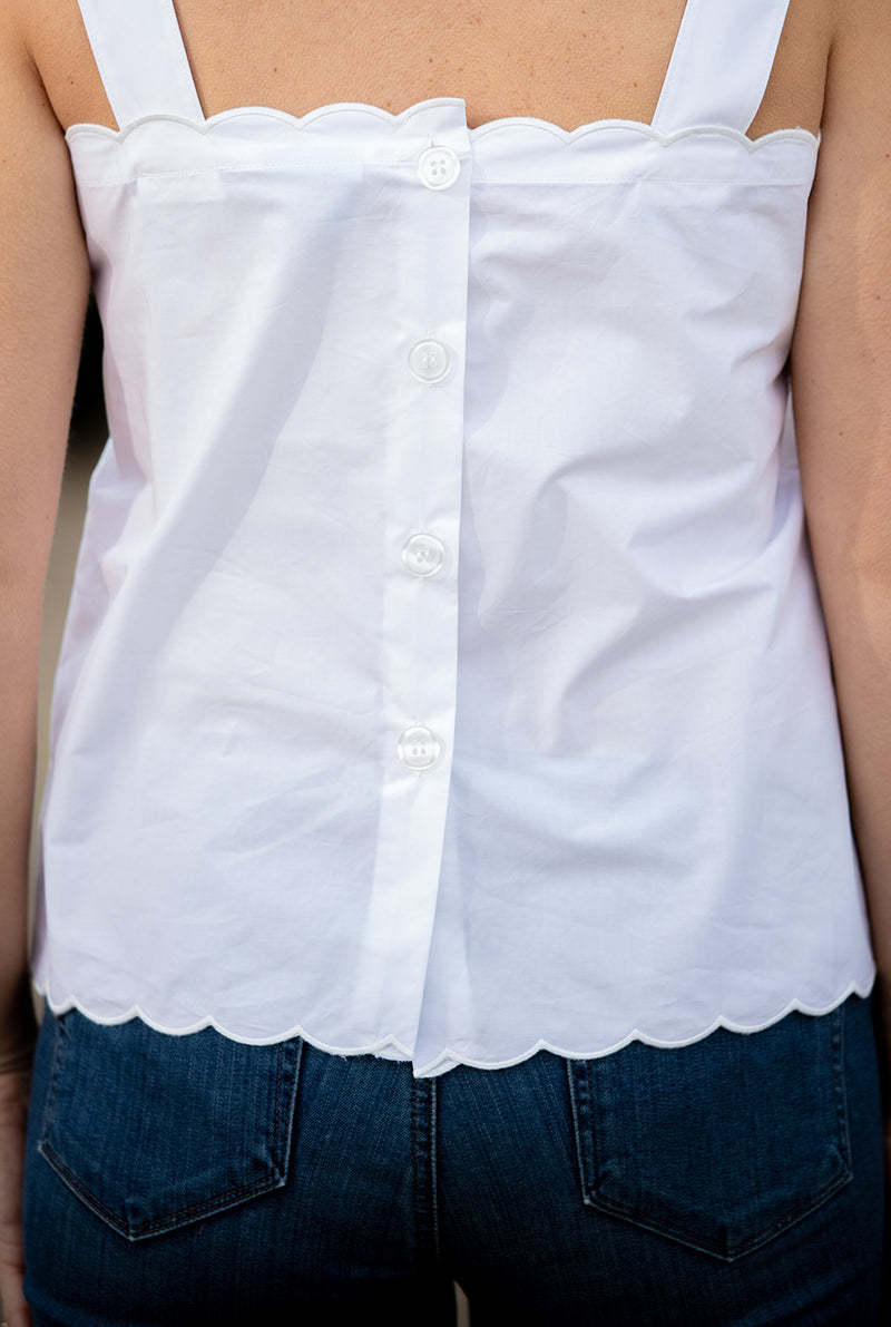 Button Back Tank in White Solid