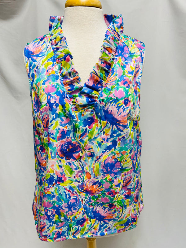 Sleeveless Parker Top-Maximal Floral
