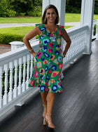 Beaufort Midi Dress-Kelly Green Cheetah