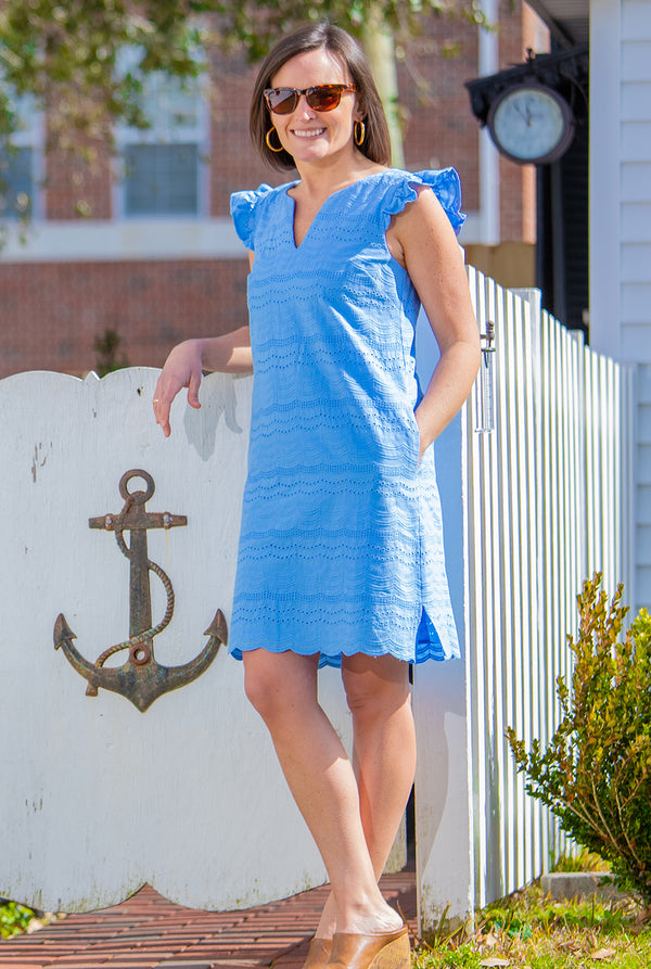 Eyelet Cap Sleeve Dress in Cornflower Blue