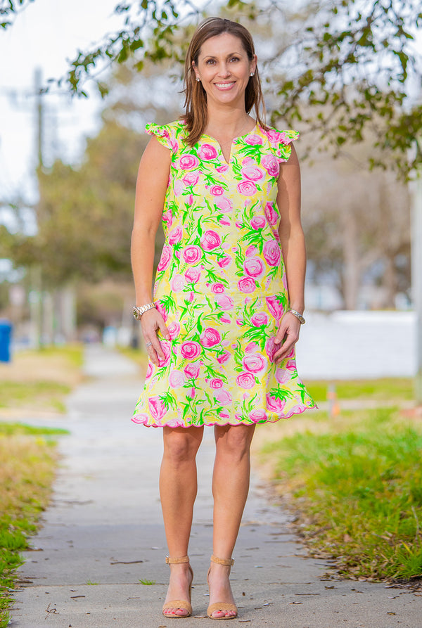 Cap Sleeve Dress in Derby Print