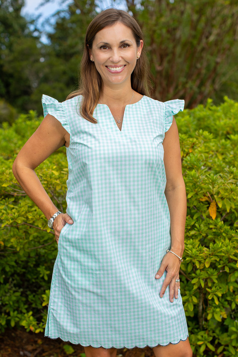 Scallop Cap Sleeve Dress in Mint Gingham