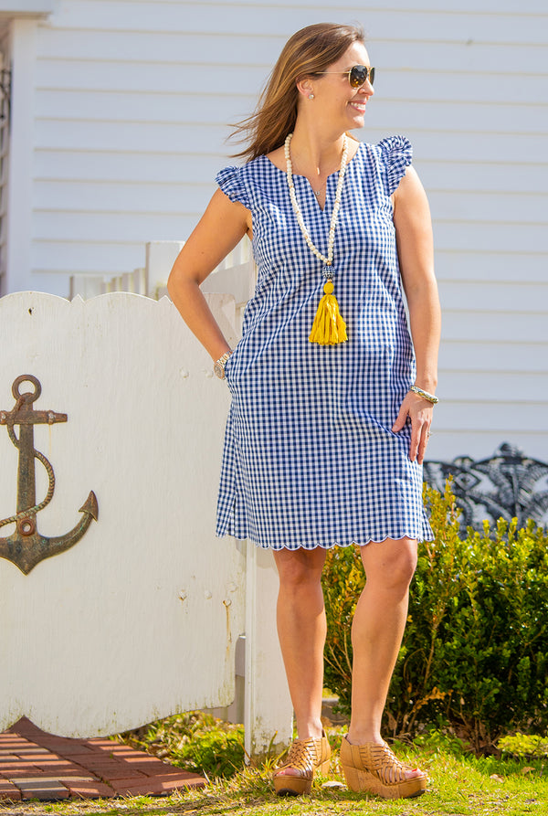 Scallop Cap Sleeve Dress in Navy Gingham