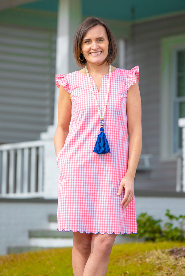 Scallop Cap Sleeve Dress in Pink Gingham