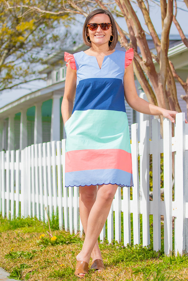Cap Sleeve Dress in Spring Stripes