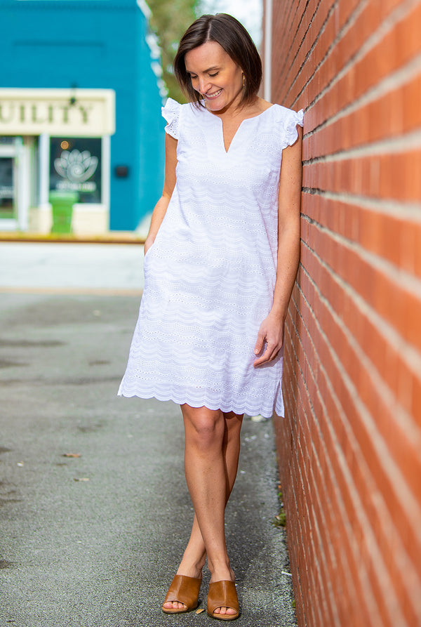 Eyelet Cap Sleeve Dress in White