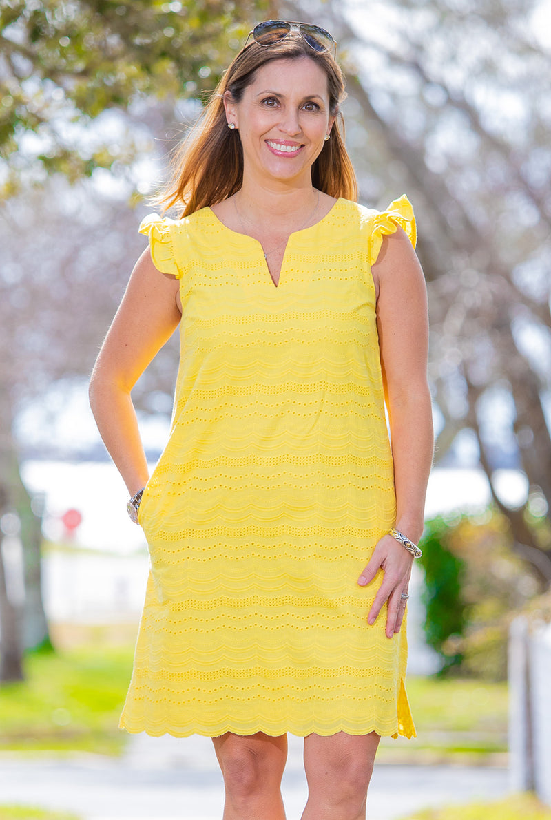 Eyelet Cap Sleeve Dress in Yellow