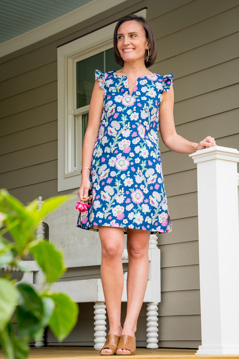 Cap Sleeve Dress in Midnight Bloom
