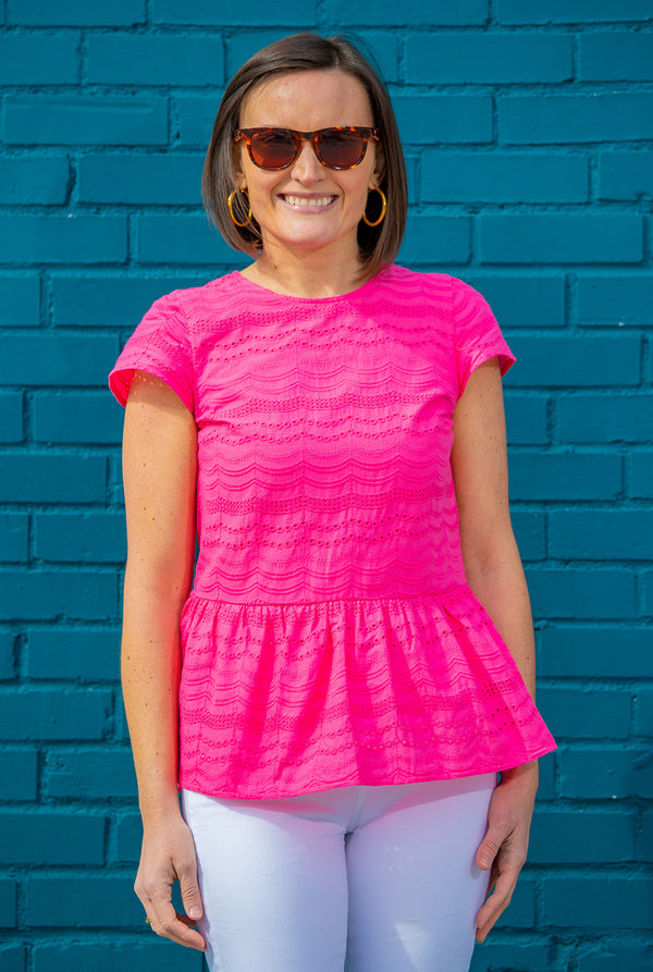 Eyelet Cap Sleeve Peplum Top in Pink