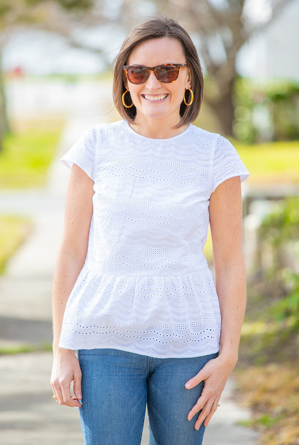 Eyelet Cap Sleeve Peplum Top in White