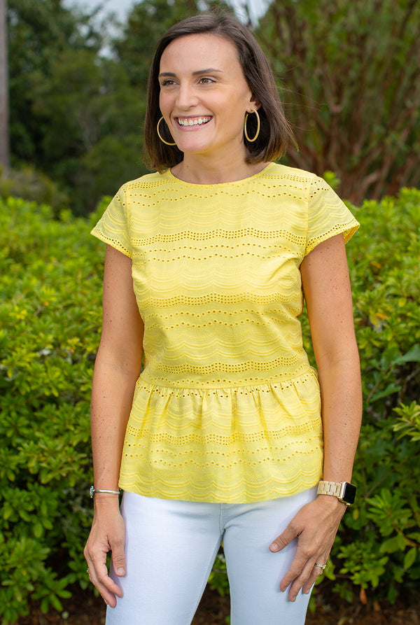 Eyelet Cap Sleeve Peplum Top in Yellow