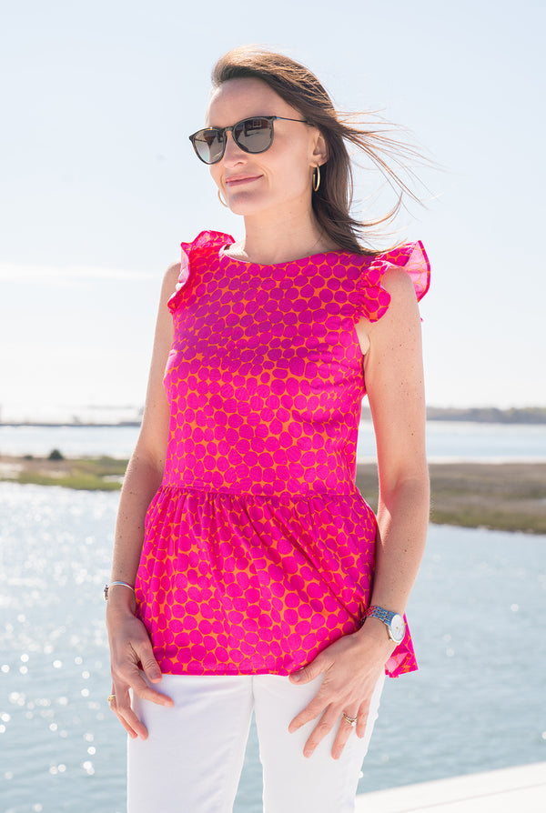Cap Sleeve Peplum Top in Pink & Orange Dot