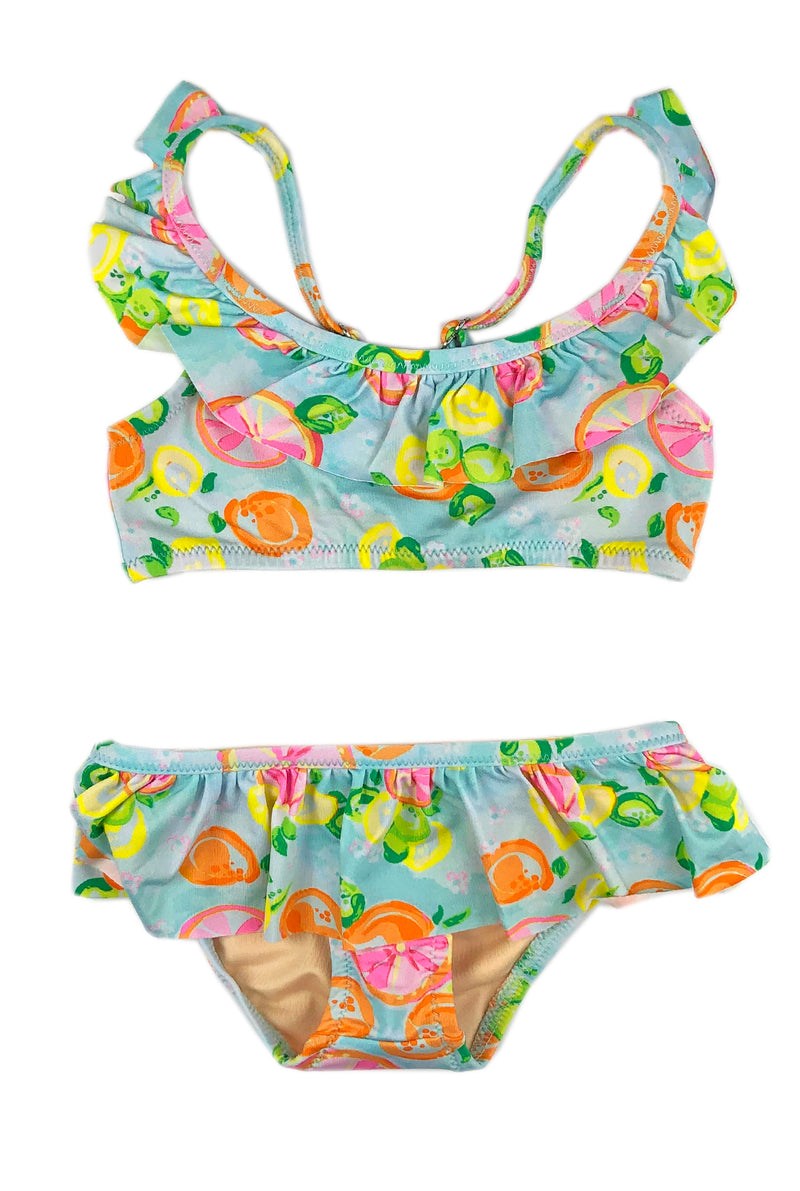 Girls Ruffle Two-Piece Suit Set in Citrus