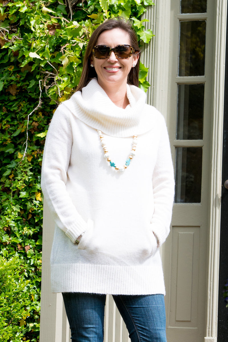 Cowl Neck Tunic Sweater in Ivory