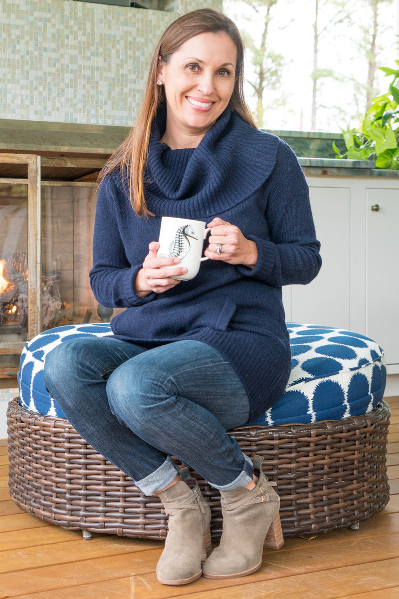 Cowl Neck Tunic Sweater in Navy