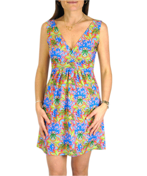 Criss Cross Dress in Blue Floral