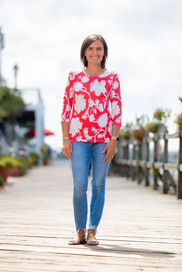 Day at the Park Top in Amelia Floral on Red