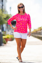 Day at the Park Top in Red Cheetah on Pink