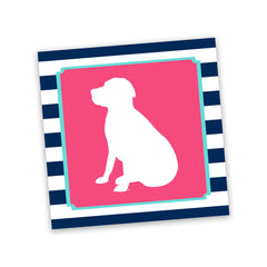 Striped Lab Sticker in Navy/Pink