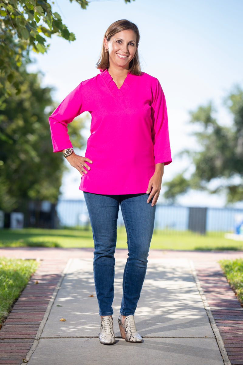 Parker Tunic in Hot Pink Crepe