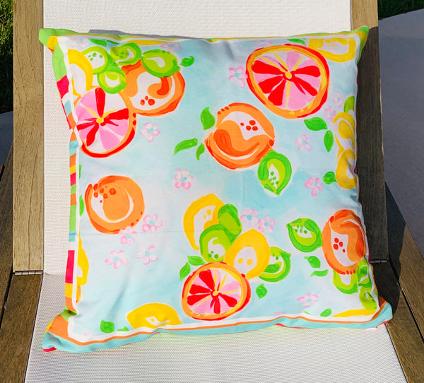 Throw Pillow Citrus Multi Stripe COVER ONLY