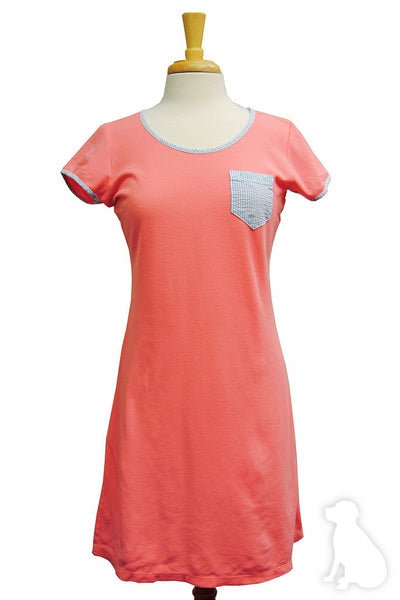 Emma Dress in Coral Pique