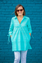 Eyelet Popover Cover Up in Aqua