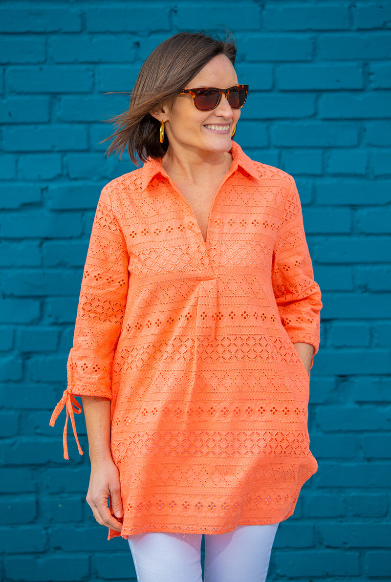 Eyelet Popover Cover Up in Coral