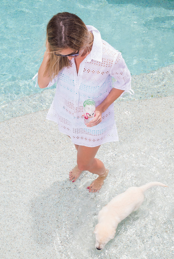 Eyelet Popover Cover Up in White