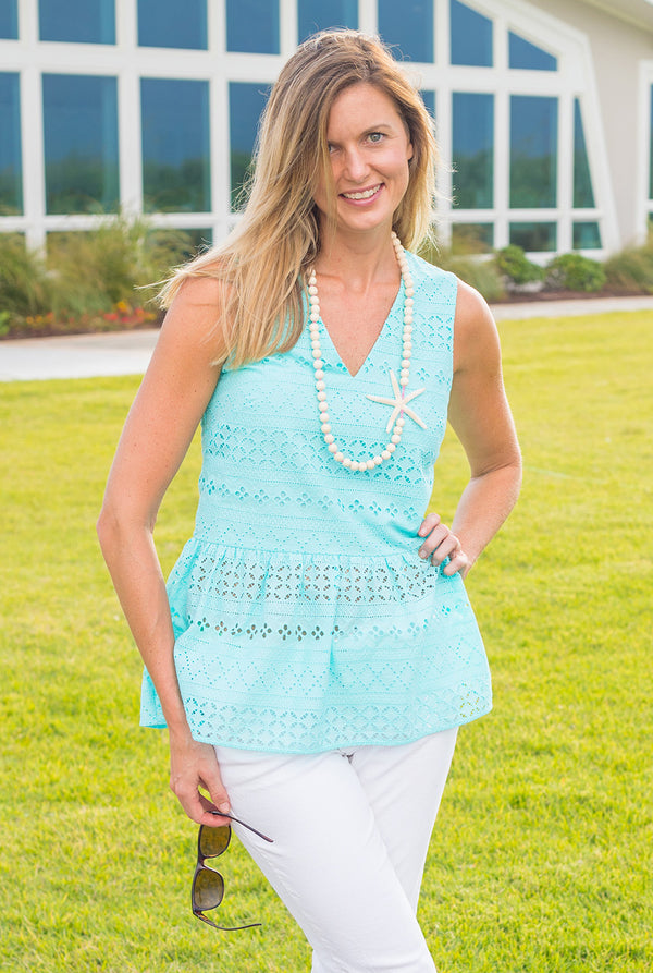 Eyelet Sleeveless Peplum Top (More Colors Available)