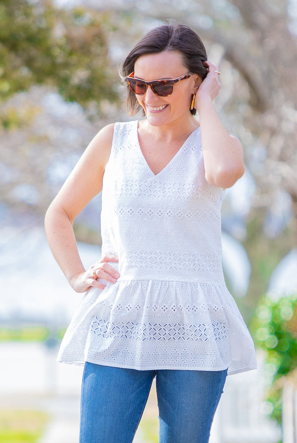 Eyelet Sleeveless Peplum Top in White