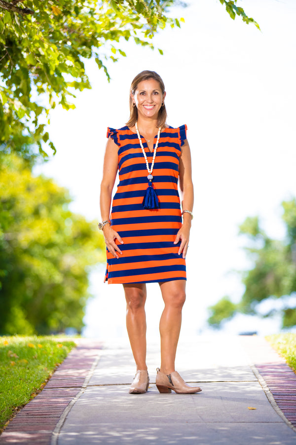 Rugby Stripe Dress in Navy & Orange