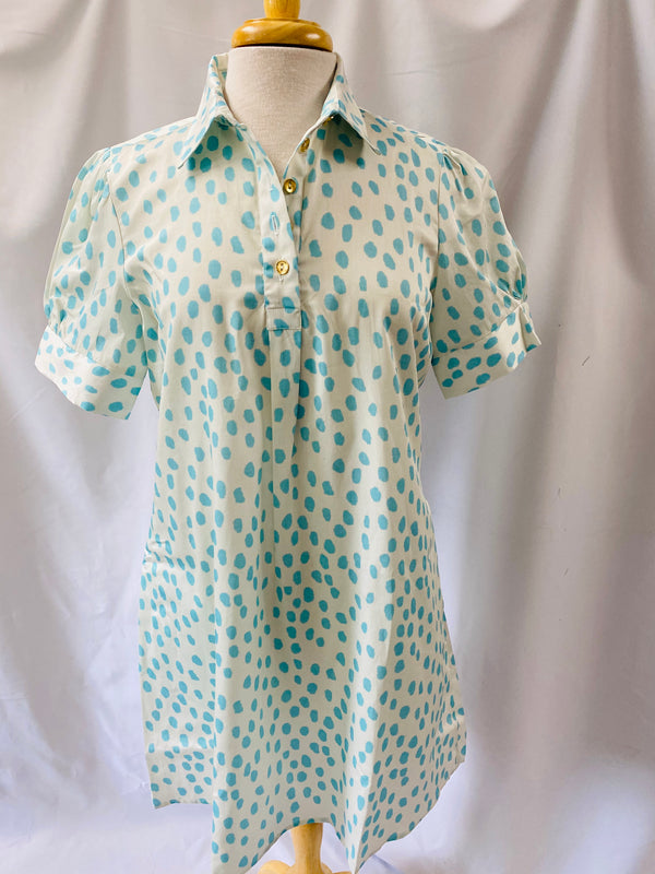 Short Sleeve Popover Dress Aqua Printemps