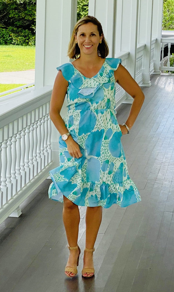 Beaufort Midi Dress-Aqua Watercolor