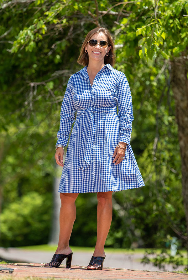 Fit & Flare Shirtdress in Blue Gingham