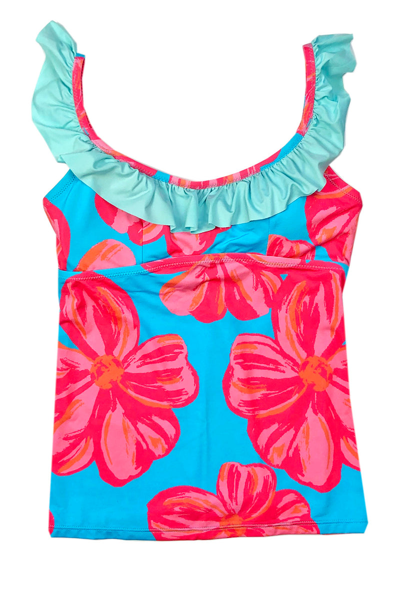 Ruffle Scoop Tankini Top in Floral