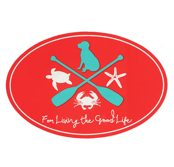 For Living The Good Life Sticker in Coral