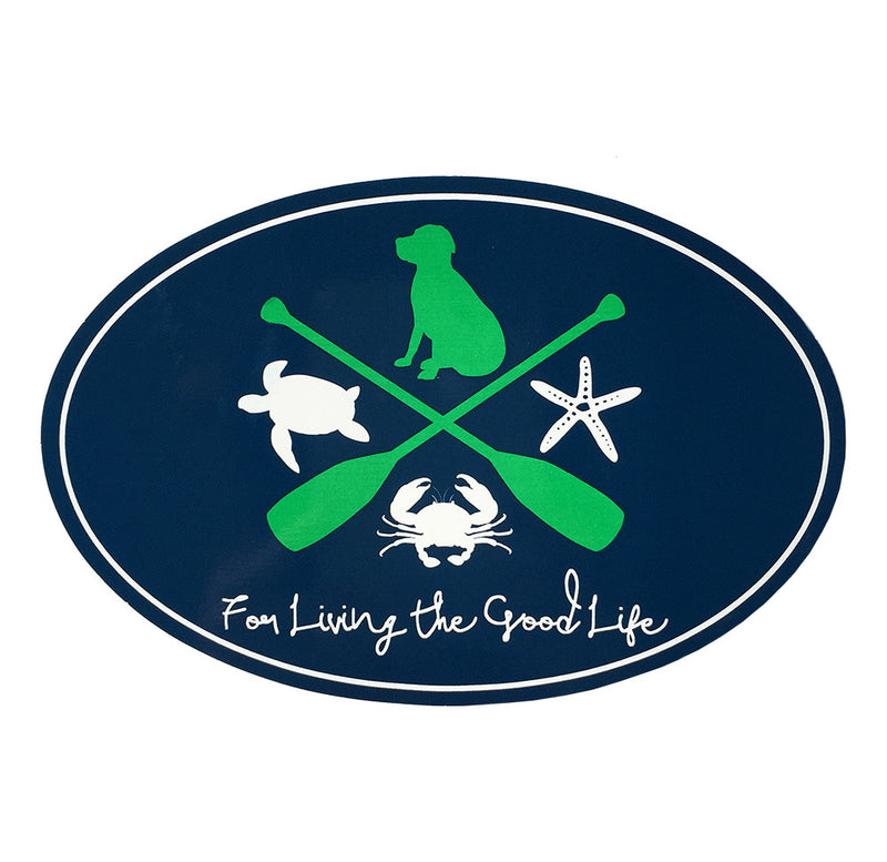 For Living The Good Life Sticker in Navy
