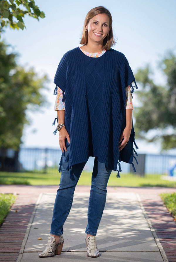 Fringed Cable Topper in Navy