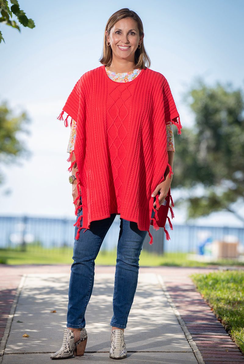 Fringed Cable Topper in Red