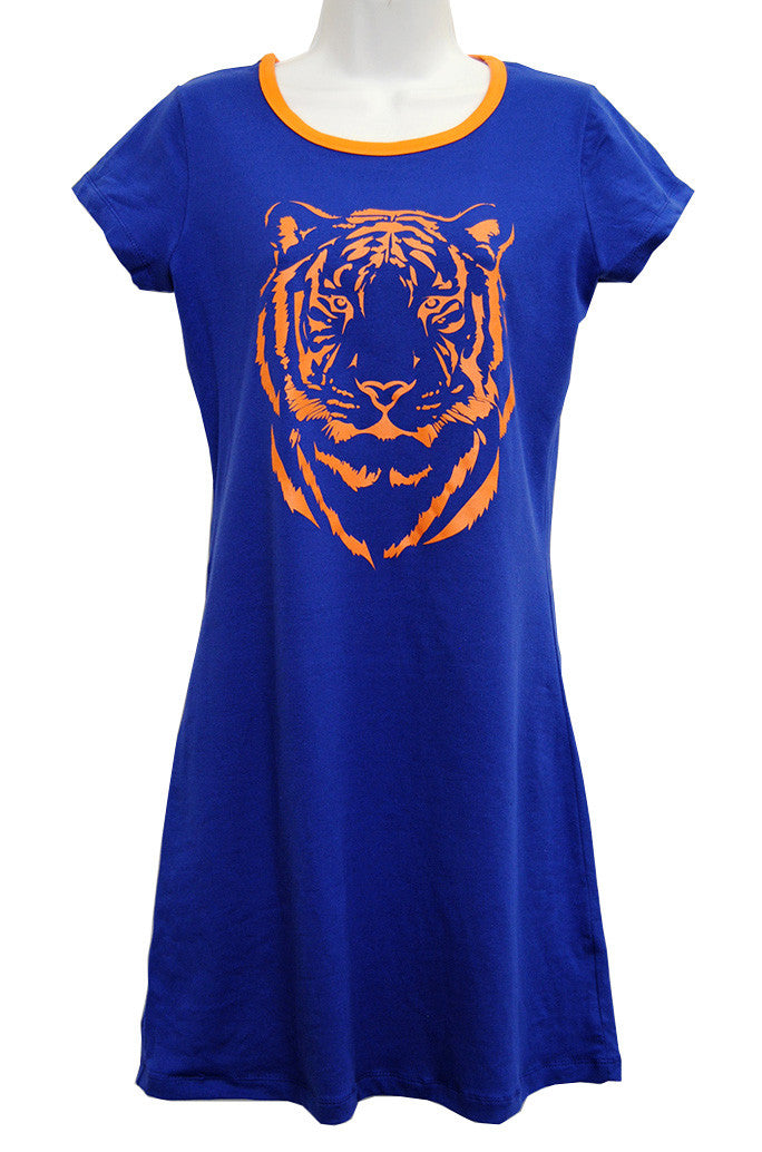 Tiger Game Day Tee Dress on Blue