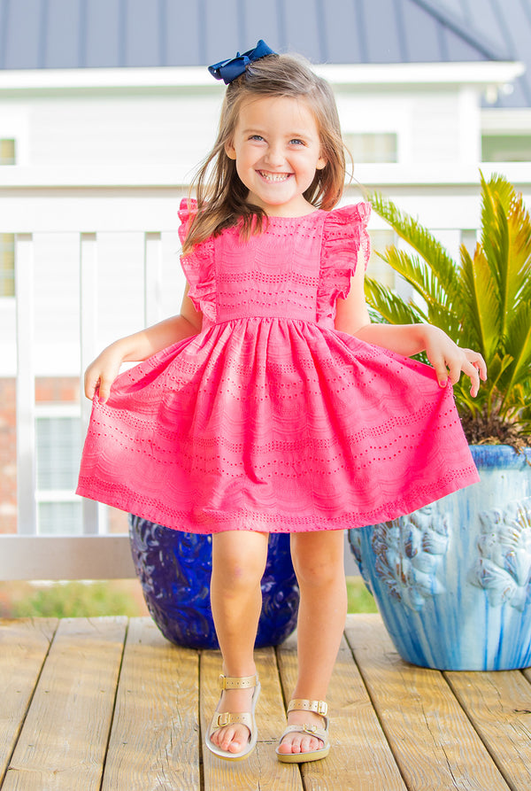 Girls Brooke Dress in Pink Eyelet