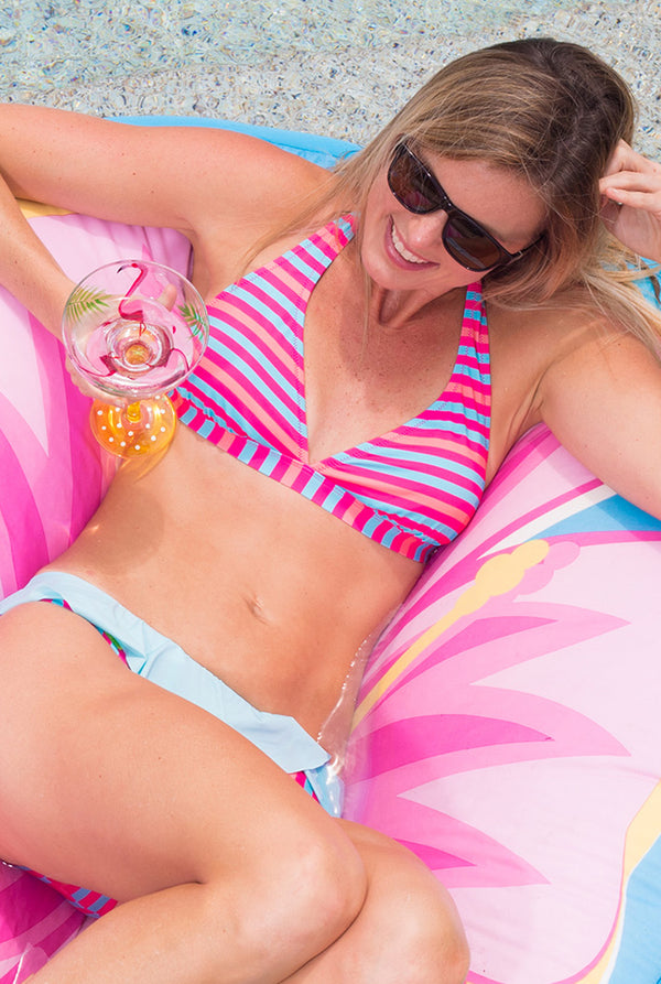 Halter Bikini Top in Multi Stripe