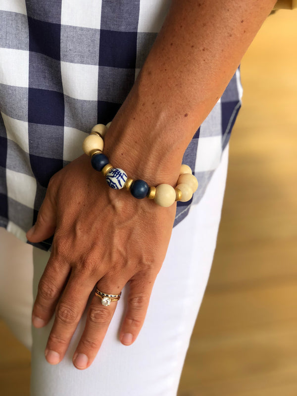 Navy and Wood Bracelet with Chinoiserie