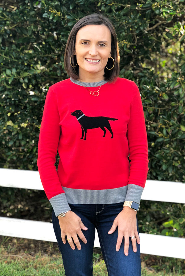 Icon Sweater in Black Labrador on Red