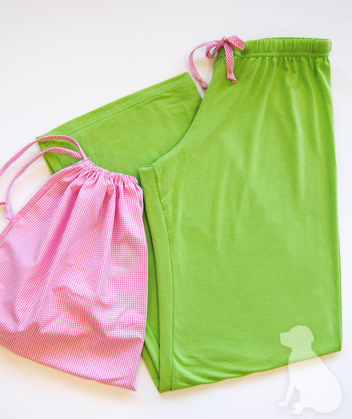 PJ Lounge Pant in Lime Green Knit