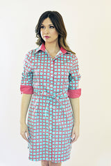Madeline Dress in Aqua Rings