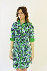 Madeline Dress in Navy Seahorse