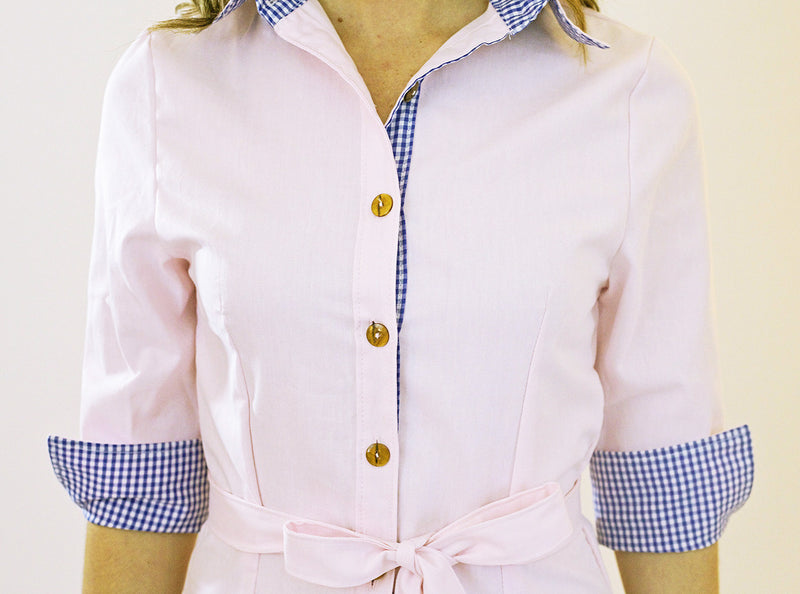 Madeline Dress in Pink Oxford