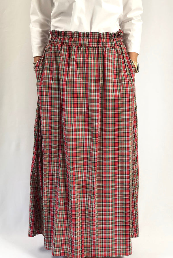 Cocktail Maxi Skirt in Holiday Tartan